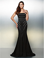 Formal Evening Dress - Black Trumpet/Mermaid Strapless Sweep/Brush Train Jersey