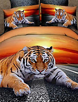3D Duvet Cover Set 4-Piece Lying Tiger Print