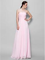 Vestido de Dama de Honor - Rosa Corte A Strapless - Hasta el Suelo Gasa
