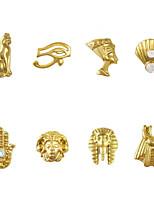 50pcs Mix Egypt Theme 8 Designs 3D Gold Nail Art Alloy