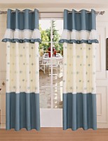 (One Panel)Poly/cotton Blend Blue The Mediterranean Style Snow Embroidery Energy Saving Curtain