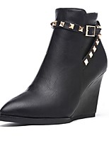 Women's Shoes  Wedge Heel Fashion Boots / Pointed Toe Boots Outdoor / Casual Black / Gray