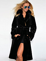 Women's Fashion Casual Party Work Plus Sizes Long Sleeve Faux Fur Coat with Belt
