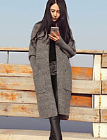 Women's Solid Khaki / Gray Cardigan , Casual Long Sleeve