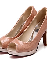 Women's Shoes Leatherette Stiletto Heel Heels Heels Outdoor / Dress / Casual Black / Pink / Silver