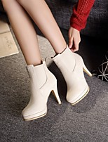 Women's Shoes Leatherette Stiletto Heel Heels / Round Toe Boots Outdoor / Office & Career / Casual Black / White / Beige
