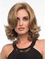 Capless High Quality Middle Length Curly Blonde Synthetic with Side Bang