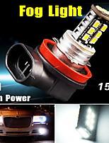 Pure Xenon white H11 High Power 15W LED bulbs DRL Fog/Driving Head Light US 12V