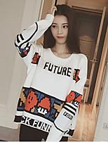 Women's Color Block White / Black Pullover , Vintage Long Sleeve