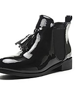 Women's Shoes Patent Leather Chunky Heel Fashion Boots / Round Toe Boots Outdoor / Casual Black / Burgundy