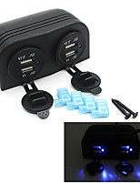 Waterproof 12V Motorcycle Car Boat 4 USB Ports Cigarette Lighter Socket Splitter