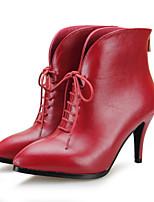 Women's Shoes Leather Stiletto Heel Heels / Bootie Heels / Boots Office & Career / Party & Evening / Dress