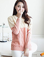 Women's Patchwork Pink / Green / Yellow / Purple Pullover , Sexy / Casual Long Sleeve