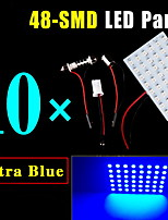 10 X Blue Festoon T10 BA9S LED 48SMD Panel Interior Dome Map Light Bulb Lamp 12V