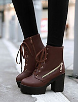 Women's Shoes Chunky Heel Fashion Boots Boots Casual Black / Brown / White