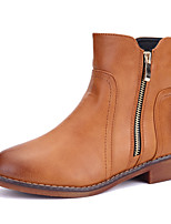 Women's Shoes Leather Flat Heel Fashion Boots / Bootie / Boots Office & Career / Dress / Casual Black / Brown / Gray
