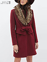 Women's Solid Red Coat , Party / Work Long Sleeve Spandex JZ10C02