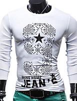 Men's Long Sleeve T-Shirt , Spandex Casual Print