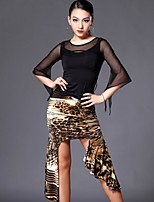 Latin Dance Outfits Women's Performance Spandex / Polyester Draped 2 Pieces Black / Polka Dots / Leopard Print / Zebra