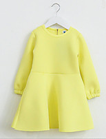 Girl's Pink / Yellow Dress , Ruffle Cotton Winter / Fall