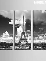 E-HOME® Stretched Canvas Art European Iron Tower Decoration Painting Set of 3