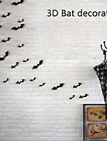 12PCS 3D Bats PVC Wall Stickers  Halloween Decoration