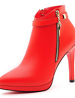 Women's Shoes Synthetic Stiletto Heel Heels / Fashion Boots / Bootie Boots Party & Evening / Dress / Casual Black / Red