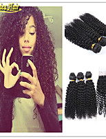 4 Pcs/Lot Best Qaulity Hair Brazilian Curly Human Hair 100% Unprocessed Virgin Human Hair Weaving With Closure