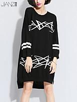 Women's Geometric Black Dress , Casual Long Sleeve JZ10A11