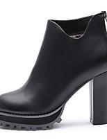Zapatos de mujer - Tacón Robusto - Tacones / Innovador / Punta Redonda - Botas - Oficina y Trabajo / Vestido / Casual - Semicuero -Negro