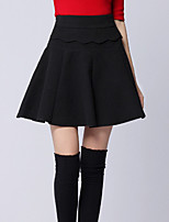 Women's Solid Red / Black / Gray Skirts , Party Above Knee