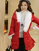 Women's Solid Red / Black / Gray Down Coat , Casual / Plus Sizes Shirt Collar Long Sleeve