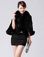 Women Fox Fur / Rex Rabbit Fur / Faux Fur Top , Lined Wool-like fur shawl cloak