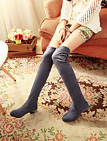 Women's Shoes Leatherette Chunky Heel Round Toe Boots Outdoor / Office & Career / Casual Black / Blue / Brown / Gray