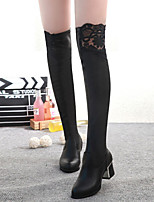 Women's Shoes Lace Splicing Chunky Heel Pointed Toe Fashion Over The Knee Boots
