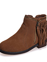 Women's Shoes Suede Chunky Heel Round Toe Boots Casual Black / Brown / Gray