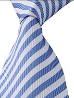White Blue Striped Classic Jacquard Woven Silk Men Necktie