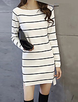 Women's Striped White Dress , Vintage Long Sleeve