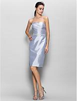 Knee-length Taffeta Bridesmaid Dress - Silver Sheath/Column Strapless