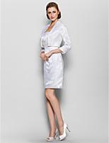 שמלה לאם הכלה  - שנהב נדן / טור - באורך ברך - 3/4-אורך - סאטן