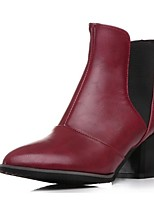 Women's Shoes Leatherette Low Heel Fashion Boots Boots Office & Career / Dress / Casual Black / Red