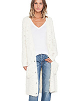Women's Solid White Cardigan , Casual Long Sleeve