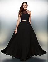 Vestido - preto Festa Formal Linha-A V profundo Longo Chiffon / Renda