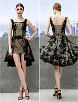 Cocktail Party Dress - Black A-line Straps Knee-length Lace
