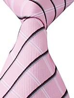Pink Black White Stripes Men Silk Jacquard Leisure Necktie