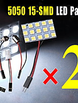 2X White 15SMD 5050 Panel Interior Dome Map Light+Festoon T10 BA9S BA15S Adapter