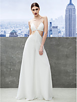 Formal Evening Dress Sheath/Column Spaghetti Straps Floor-length Chiffon
