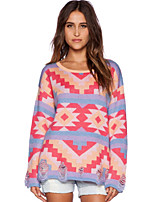 Women's Patchwork Pink Pullover , Casual Long Sleeve