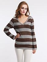 Women's Autumn Winter Fashion Plus Size V-Neck Sexy Cotton Knitting stripe Casual Blouse