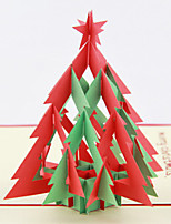 5PCS/SET Christmas Tree 3D Laser Cut Pop Up Paper Handmade Custom Greeting Cards Xmas Gifts Souvenir Santa Claus